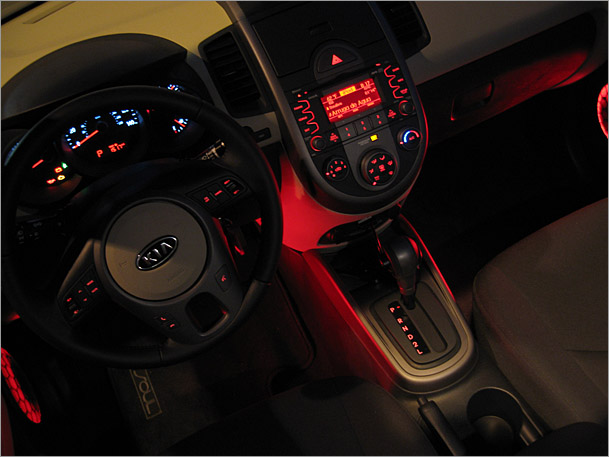 & New interior accent lights set the mood in 2016 Kia Soul